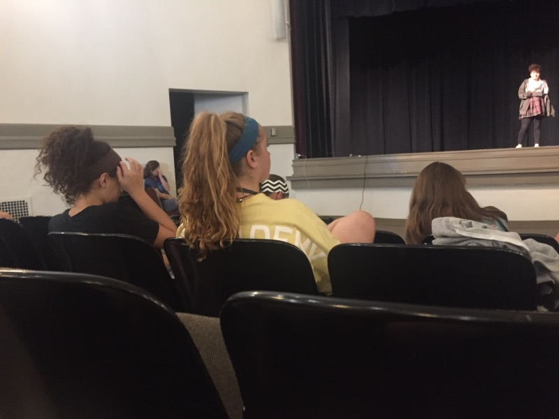 Students watch junior Gurman Thabal perform a monologue as part of auditions on Wed. Aug. 30th.