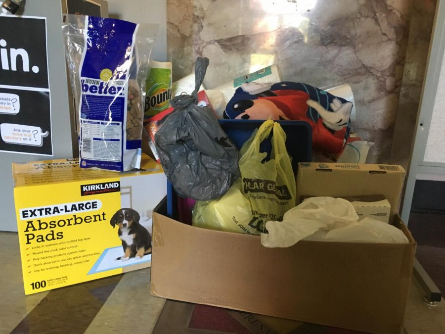 Donated items for Kansas City Pet Project sit in the front hall of Donnelly Oct. 19. photo by Riley McNett