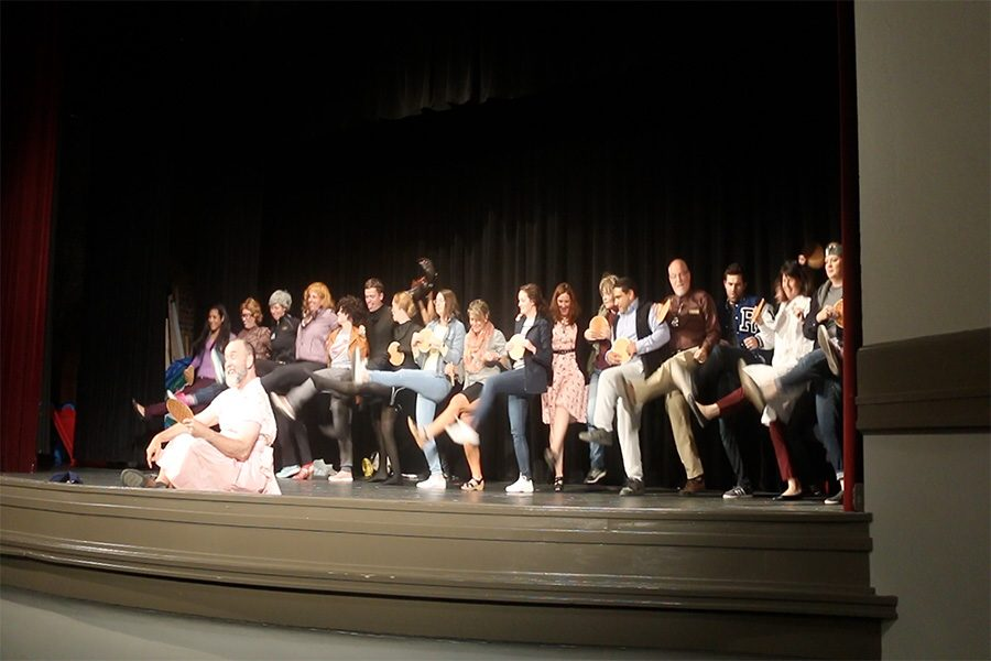 Faculty and staff put on the annual auction skit Oct. 5. The skit advertised the auction pants. photo by Amy Schaffer