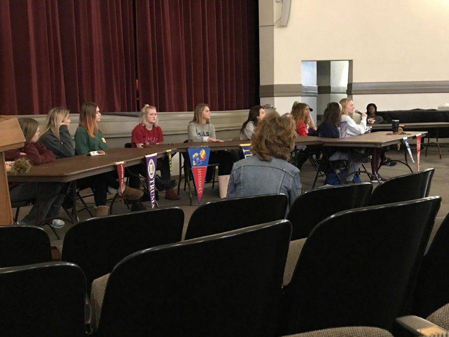 Alumnae from the class of 2017 sit together at a panel Jan. 4 in the auditorium. The college panel was held to help current students with college decisions. photo by Annabelle Meloy
