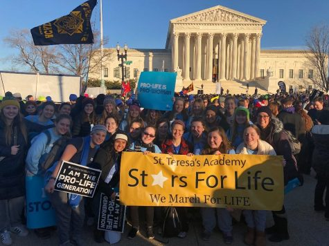 22 members of Stars for Life, a local chapter of Students for Life, stand in front of the Supreme Court building after the March for Life Jan. 19. photo courtesy of Andrea Essner