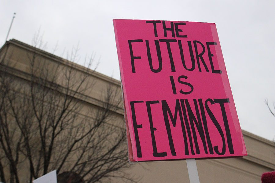 A marcher holds up a sign while marching Jan. 20. The march was held in Lawrence. photo by Madeline Loehr