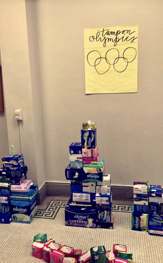 Third+floor+M%26A+won+the+M%26A+sculpture+contest+Feb.+12.+Each+floor+created+a+sculpture+out+of+the+boxes+collected+in+the+Giving+the+Basics+drive.+photo+courtesy+of+Sloane+Smith