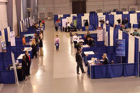 The Hire KC job fair took place March 24 at the Metropolitan Community College Tech Campus. The fair featured 83 employers with job openings. photo by Olivia Wirtz