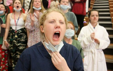 Senior Mary Kate Armstrong screams during the Sion vs. STA game at St. Teresa's Academy Feb. 24. Armstrong dressed as a doctor because the games theme was