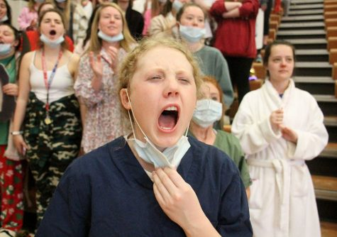Senior Mary Kate Armstrong screams during the Sion vs. STA game at St. Teresa