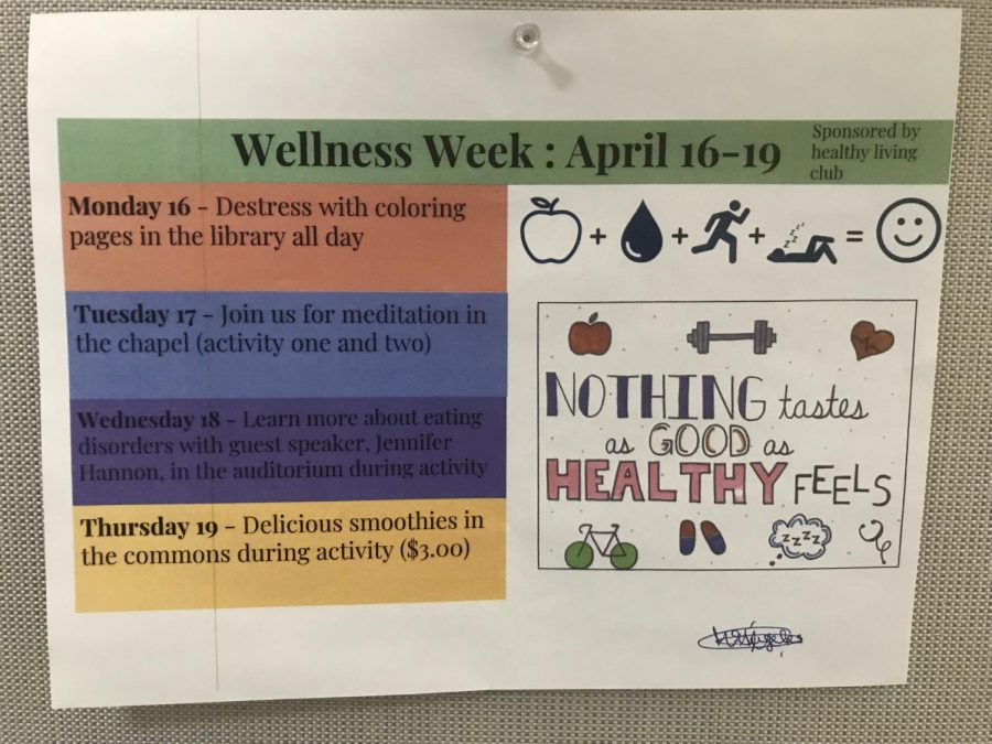 Various+posters+were+hung+around+school+promoting+Wellness+Week.+The+first+day+began+with+coloring+pages+in+the+library.+photo+by+Aspen+Cherrito