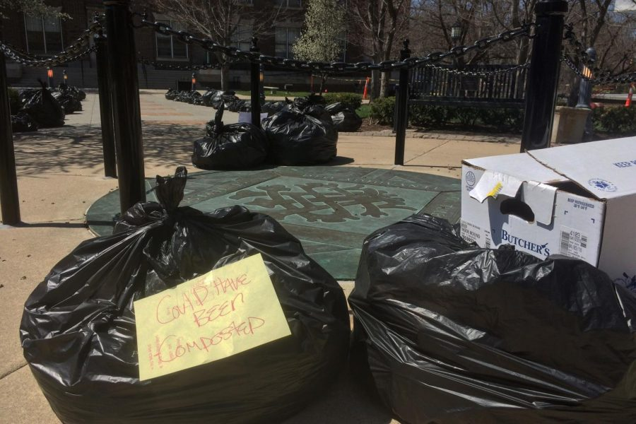 Faculty and students collected and displayed a week's worth of the school's trash in the quad during the week of April 16. photo by Lily Hart