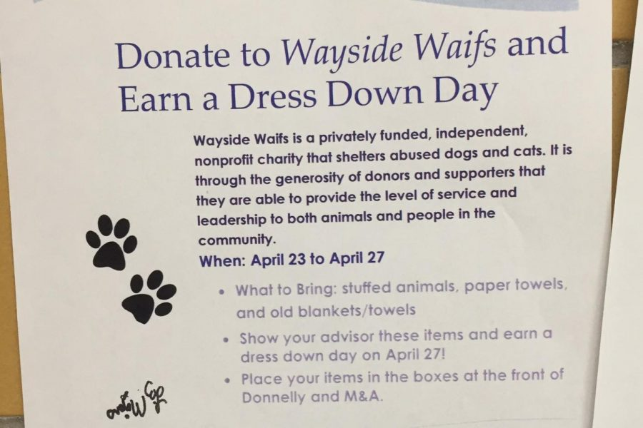National Honors Society flyer hangs up in the halls during the week of April 23. The flyer promoted their fundraiser for Wayside Waifs. photo by Anna Ronan