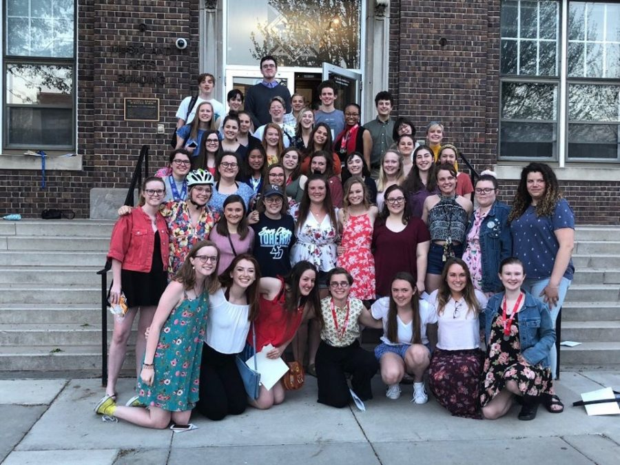 Students pose for a picture outside the M&A Building steps at the Performing Arts Banquet ceremony April 30. The students received a variety of rewards for participating in the choir and theater programs. photo courtesy of Jane Mulvihill Jones