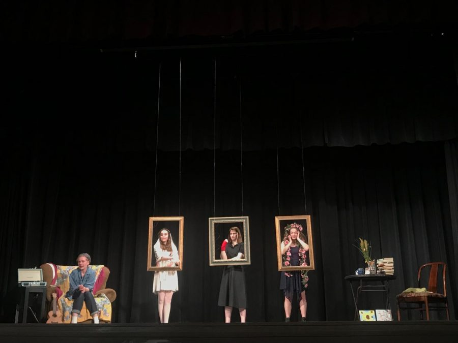 From left, Nicole Ficklin, Junior, Mia Mcnanamy, Freshman, Kylie Shuster, Sophomore, and Sophia Trozzolo, sophomore star in La Vie En Rose. La Vie En Rose written by Maura Graham is one of the seven student productions. photo by Kate Jones