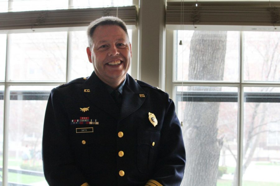 Kansas City Missouri Chief of Police Rick Smith poses in Zahner Lounge Apr. 18. Smith was sworn in as the 45th Chief of Police in August of 2017. photo by Amy Schaffer