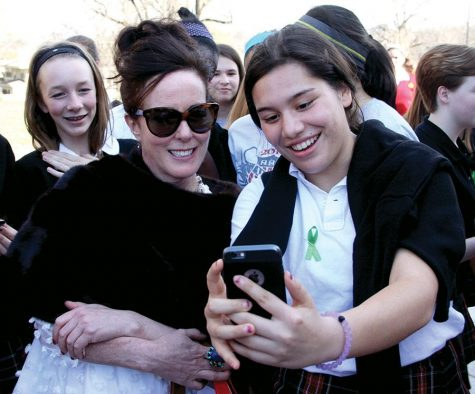 Kate Spade-Valentine during her return to campus in 2016. Class of 2017 graduate and former Senior Class President snapped a selfie with Valentine   Mar. 10, 2016. photo by Molly Winkler