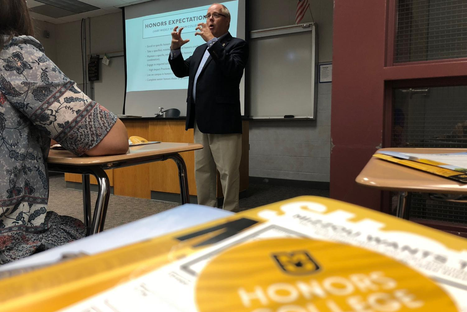 Dr. J.D. Bowers from the University of Missouri conducts a session called Honors Programs. 10 sessions were available to choose from. photo by Lily Hart