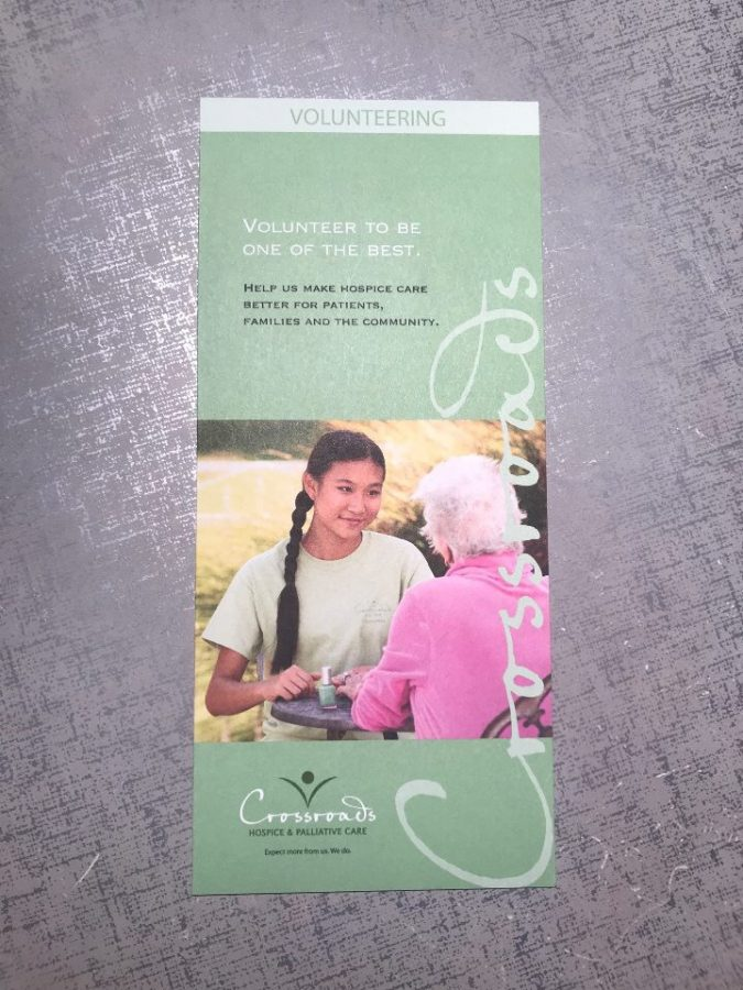 This pamphlet was given out by Crossroads KC, a service agency in which students have a chance to help care for hospice patients. photo courtesy of Mary Grace Kaplan