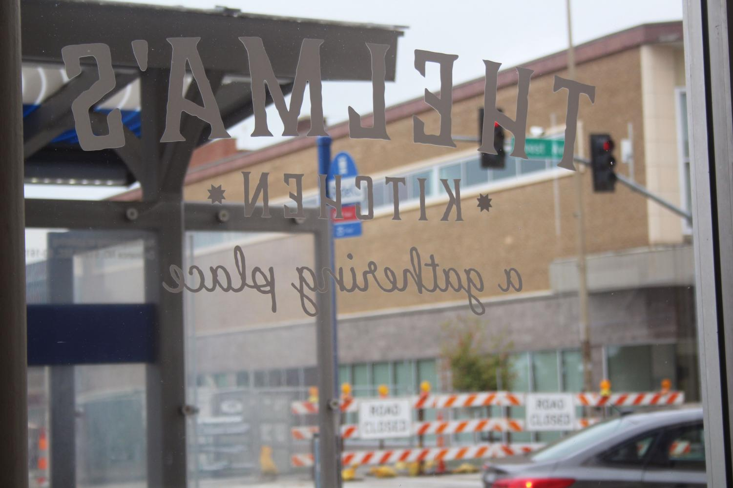 The window shades to Thelma's Kitchen are opened Sept. 6. Thelma's  is located at the corner of 39th and Troost, with a  RideKC bus station right outside provides easy access to the cafe.photo by Mckenzie Heffron