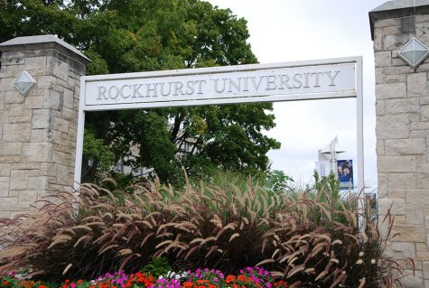 Rockhurst University sign that welcomes students to the entrance of the University September 22. Rockhurst provides a diverse campus life with residential dorms, sports facilities, and dining halls. photo by Claudia Benge