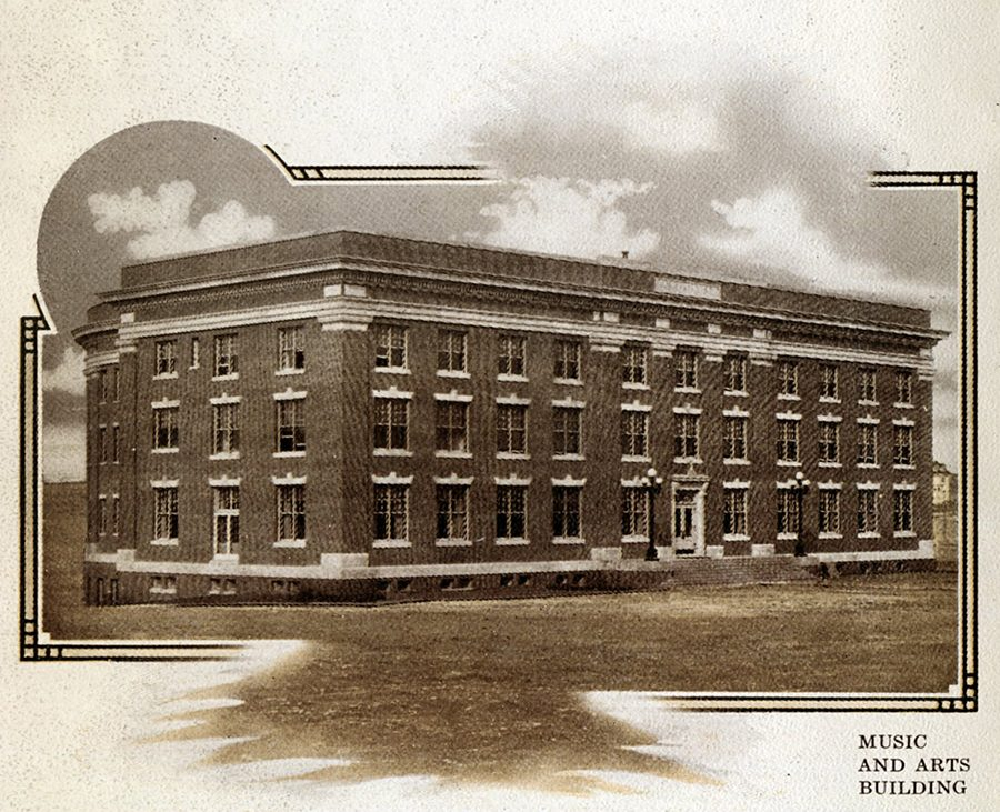 The newly built Music and Arts Building in 1911. The M&A Building was the only building on STA's campus at the time. photo courtesy of the Kansas City Public Library
