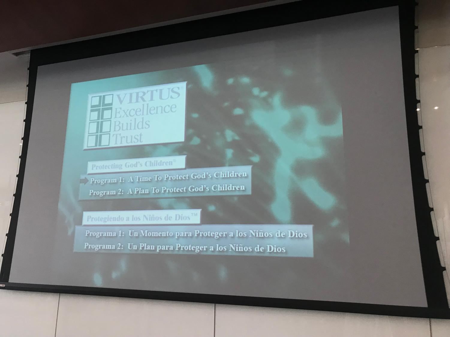Screens showed the two awareness videos for
