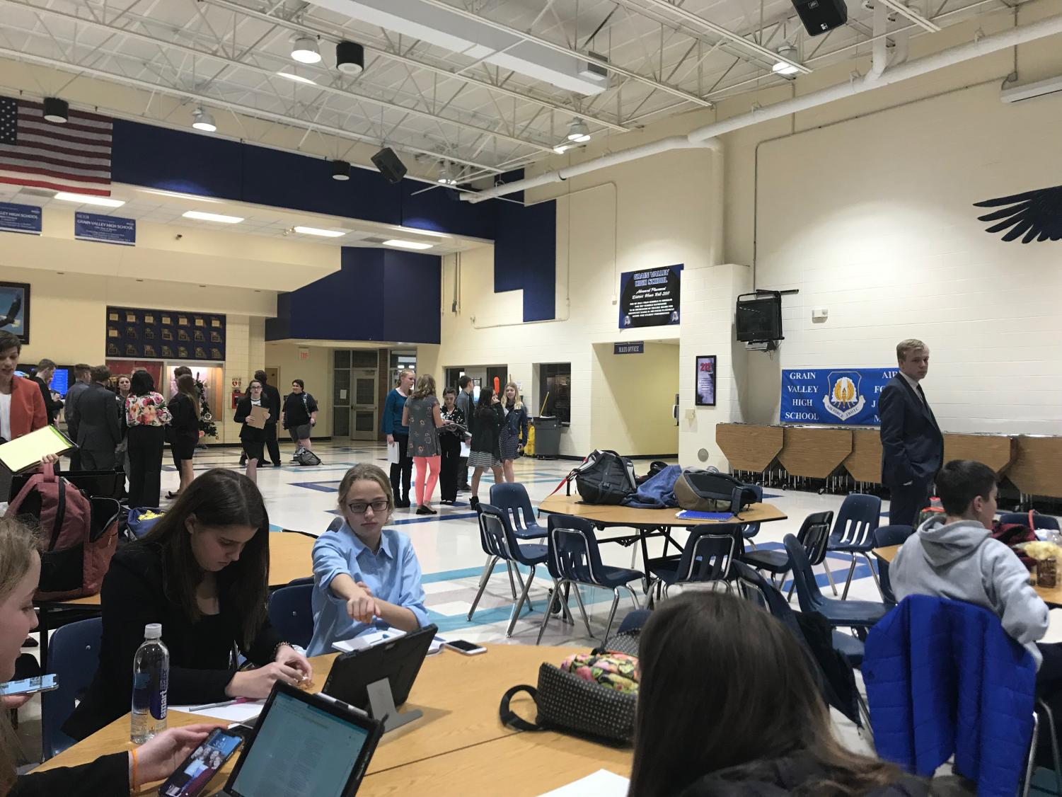 Students attend the December debate at Grain Valley High School Dec. 12. Students were dismissed during ninth period, returning home close to 8 p.m. photo courtsey of Anna Albritton