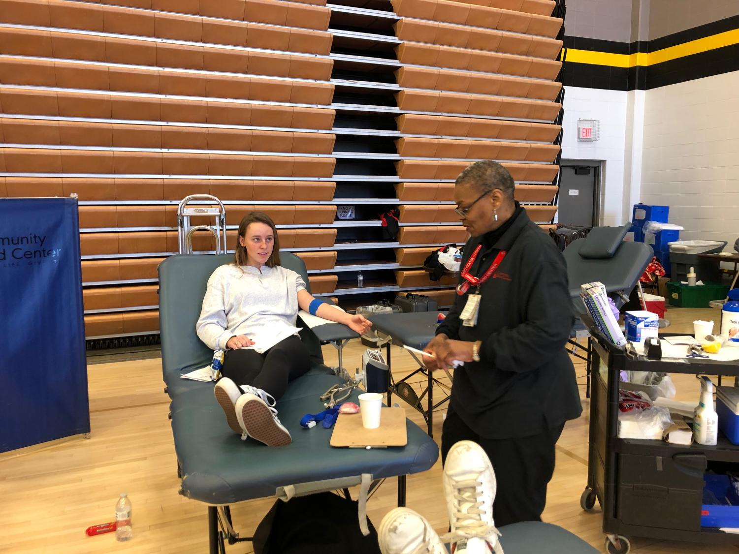 Senior Margaux Thompson donated blood in Goppert Center Jan. 25. Thompson was one of 71 individuals who donated. photo by Olivia Wirtz