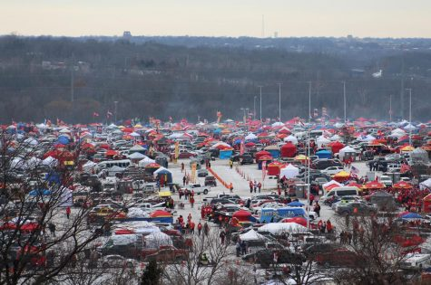 Tailgaters gather in Lots G and H at Arrowhead Stadium for the AFC Championship Game Jan. 20.