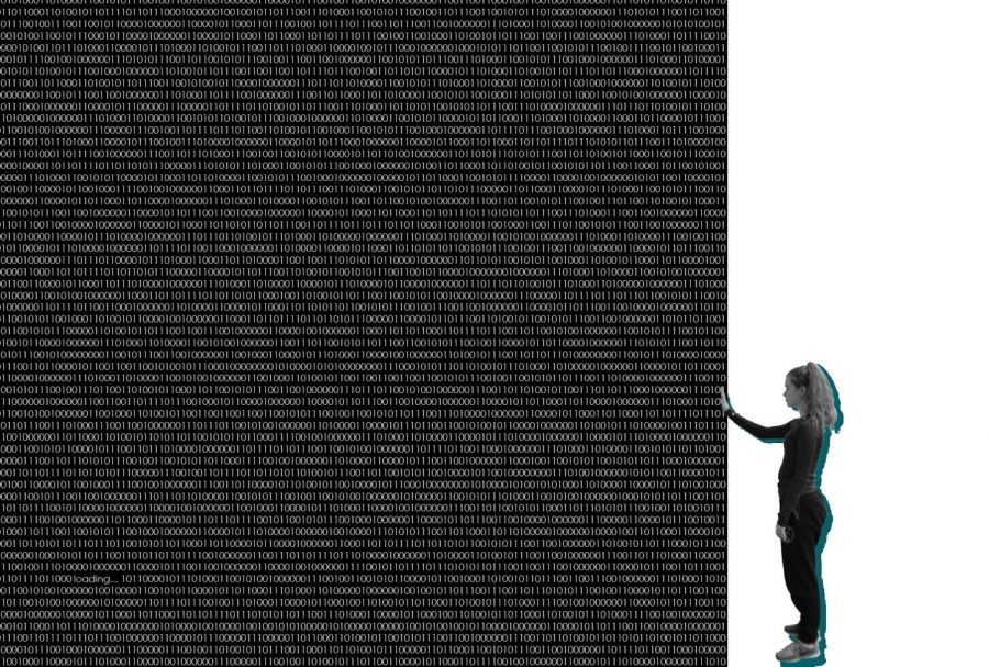 Senior Sydney Baker reaches toward a wall of data. The binary code is actually a translation of the entire Centerspread text. photo illustration by Amy Schaffer
