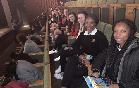 "Rebel attends ""School Girls"" play"