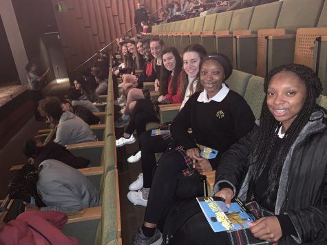 Rebel members wait for the play to begin at the Kansas City Repertory Theatre March 12. Students were accompanied by diversity and inclusion coordinator Brianna Walker, librarian Carrie Jacquin and fine arts Shana Prentiss. photo courtesy of Brianna Walker.