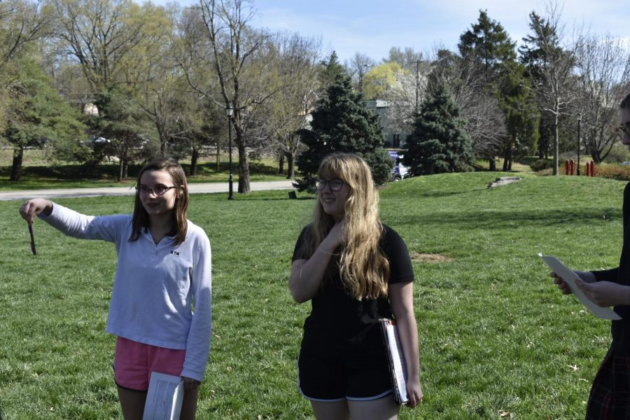 "StuPro Directors Lauren Daugherty and Grace Marshall critique the actors in their small cast at rehearsal April 9 at Brookside park. The two Seniors StuPro is called ""A Day in Pompeii"" and will include both singing and dancing. photo by Kendall Lanier"