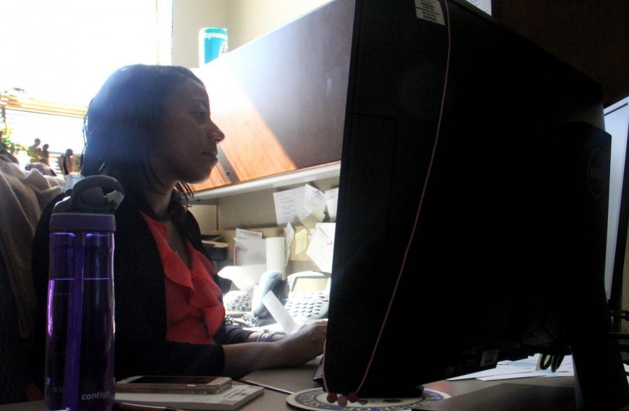 Long manages her email in the 5th Congressional District Office April 8. When Congressman Cleaver is out of town, she spends her time coordinating events and meetings. photo by Julia Kerrigan