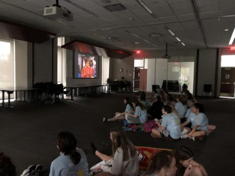 Freshmen watch shows from Disney Channel and Nickelodeon during the freshman retreat Oct. 4.
