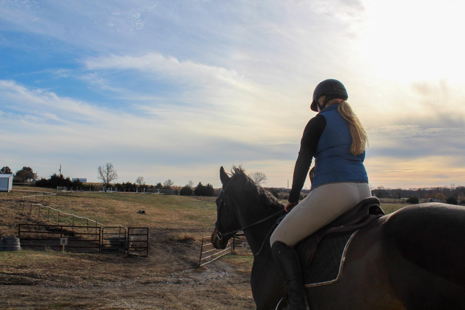 Swanson walks to the outdoor arena to practice in  nice weather before it gets too cold Nov.17. When the weather is bad they practice in the indoor arena. photo by Tess Jones