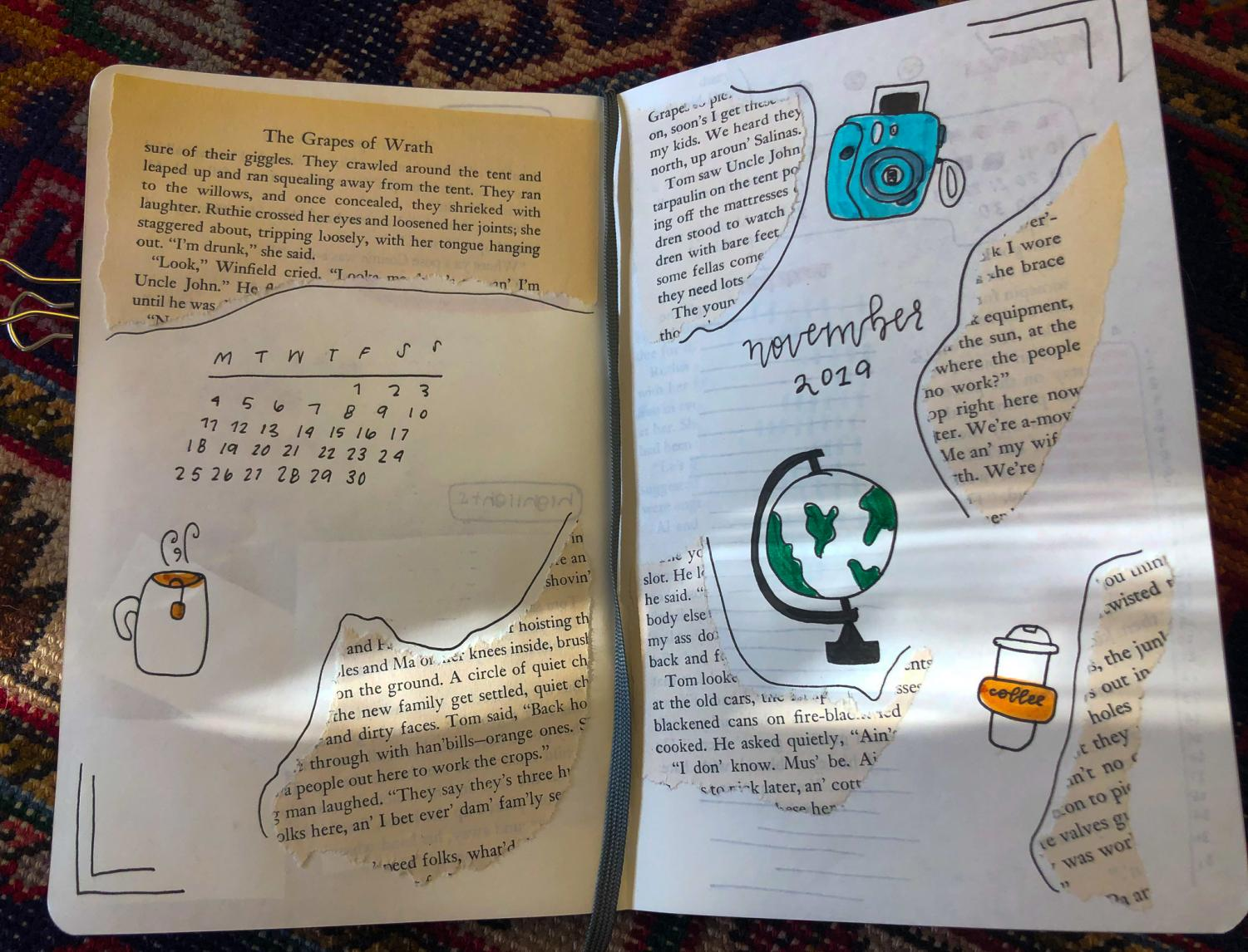 Freshman Rosemary Porto has taken up the hobby of bullet journaling in her free time Nov. 13. Filled with holiday countdowns, mood trackers and little doodles, it helps express creativity. photo by Becca Speier
