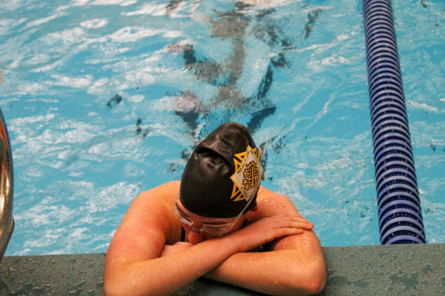 Senior+Brooke+Fallis+catches+her+breath+after+her+50-meter+freestyle+race+Jan.+25.+Fallis+realized+she+was+iron+deficient+last+year.+photo+by+Katie+Massman