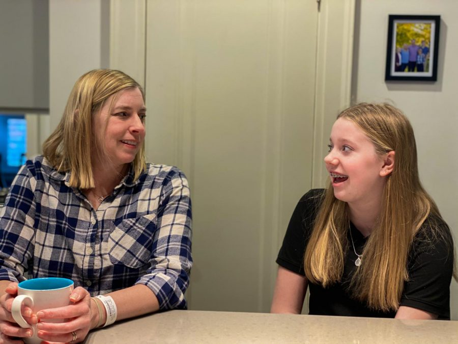 Jennifer and Rose Olson recount the changes they had to make to their daily routines when Jennifer goes through chemotherapy Feb. 19.  Both Olsons emphasize the importance of raising cancer awareness and talking about the impact of cancer on the STA community. photo by Becca Speier