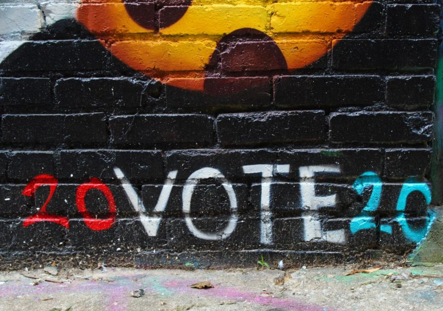 A section of a mural Downtown encourages viewers to vote in 2020. The election was held on Nov. 3. photo by Carmon Baker