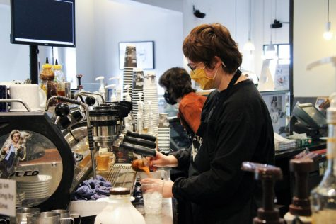 Barista Haley Wilson makes a customer