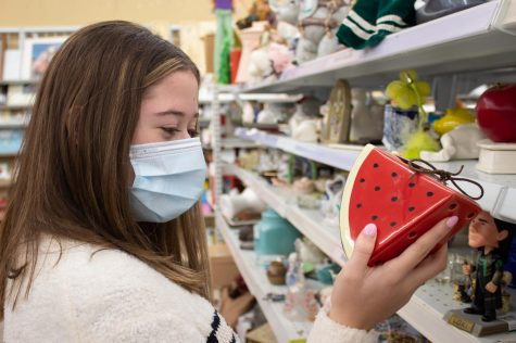 Junior Annie Niemuth continues shopping while scanning over this novelty watermelon sculpture at Savers Sept. 27. Thrift shopping has been a trend amongst teenagers looking for new and different outfits. photo by Lily Sage