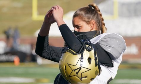 Vanderbilt University football player Sarah Fuller prepares for the Vanderbilt v. University of Missouri football game Nov. 28. Fuller was the first woman to ever play in a Power 5 game. photo courtesy of USA Today Sports