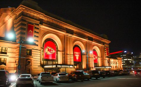 "Union Station, located in downtown Kansas City, displays their love for the Chiefs on the outside of the building Jan. 29. A banner in the middle reads ""Run It Back,"" a now popular slogan amongst Chiefs fans."