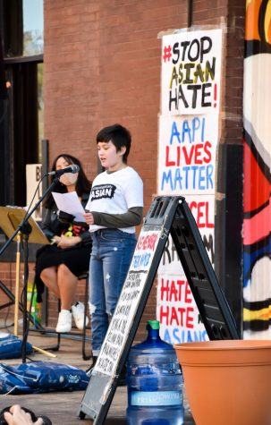 Sixth grader Hattie speaks on her experiences as an Asian-American youth and calls the community to action  March 28. Hattie spoke on her experiences of hate in her everyday life.