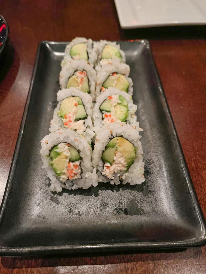 The California roll from Ra Sushi is made of crab mix, avocado and cucumber rolled in white rice March 30. Ra Sushi is located in Town Center Plaza but there are 20 other locations across the United States.